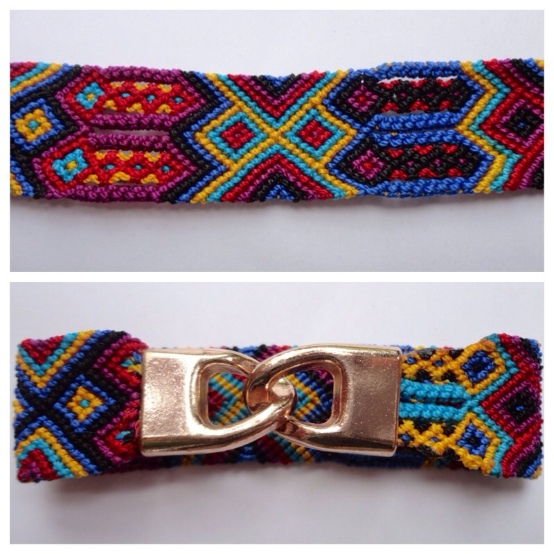 JEWELRY AND ACCESORIES / Large mexican friendship bracelet with golden hooks clasp - Style LH0004
