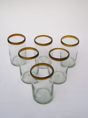 COLORED GLASSWARE / 'Amber Rim' drinking glasses (set of 6)