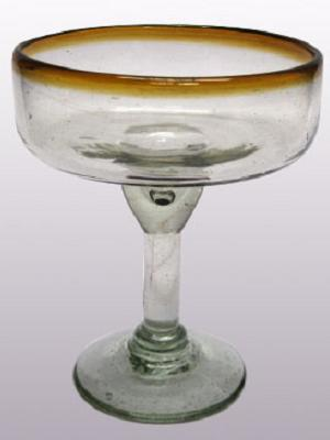 MEXICAN GLASSWARE / 'Amber Rim' large margarita glasses (set of 6)