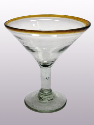 COLORED RIM GLASSWARE / 'Amber Rim' martini glasses (set of 6)