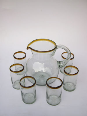 COLORED RIM GLASSWARE / 'Amber Rim' pitcher and 6 drinking glasses set