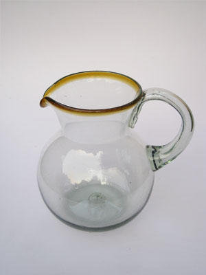 MEXICAN GLASSWARE / 'Amber Rim' blown glass pitcher