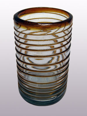 COLORED RIM GLASSWARE / 'Amber Spiral' drinking glasses (set of 6)