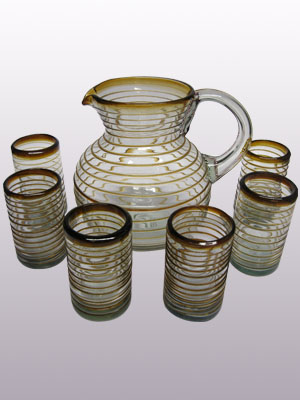 AMBER RIM GLASSWARE / 'Amber Spiral' pitcher and 6 drinking glasses set
