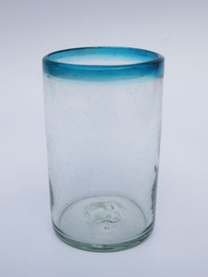 MEXICAN GLASSWARE / 'Aqua Blue Rim' drinking glasses (set of 6)