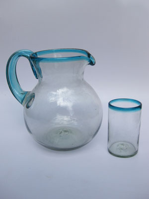MEXICAN GLASSWARE / 'Aqua Blue Rim' pitcher and 6 drinking glasses set / Transport yourself to the caribbean with this beautiful set of pitcher and glasses with an aqua blue rim.