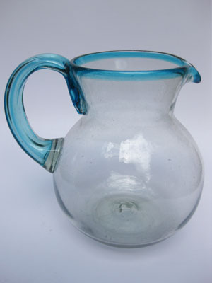 MEXICAN GLASSWARE / 'Aqua Blue Rim' blown glass pitcher / This modern pitcher is decorated with an aqua blue rim.