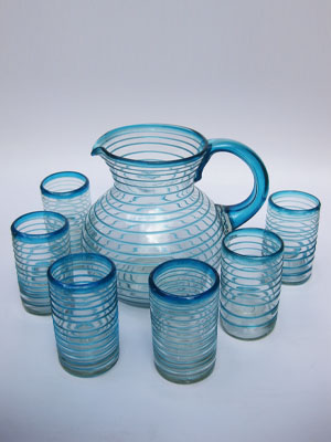 MEXICAN GLASSWARE / 'Aqua Blue Spiral' pitcher and 6 drinking glasses set / Swirls of aqua blue color embelish this set, reminiscent of the tropical caribbean waters of Cancun.