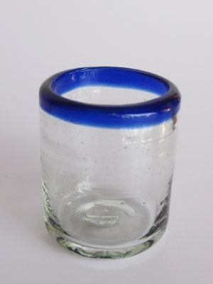 Tequila Shot Glasses / 'Cobalt Blue Rim' small sipping glasses (set of 6) / This useful set of small sipping glasses is ideal to follow your tequila with sangrita or lemon juice.