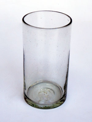 MEXICAN GLASSWARE / Clear tall iced tea glasses (set of 6) / This classic set of iced tea glasses is made of recycled glass. Tiny bubbles are trapped within the glass.