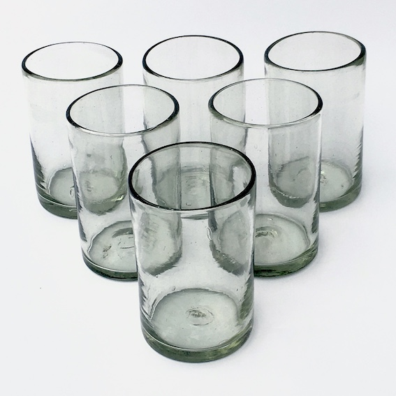 MEXICAN GLASSWARE / Clear drinking glasses (set of 6) / These handcrafted glasses deliver a classic touch to your favorite drink.