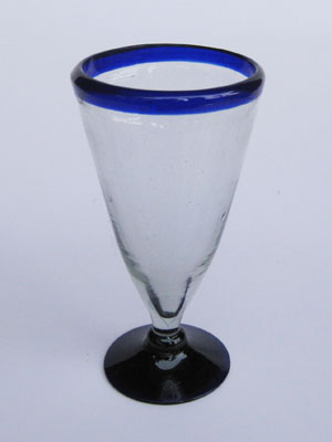 MEXICAN GLASSWARE / 'Cobalt Blue Rim' Pilsner beer glasses (set of 6) / Tall, tapered hand blown Pilsner glasses with a blue rim. Reveal the colour and carbonation of your favorite beer with this gorgeous set of glasses.