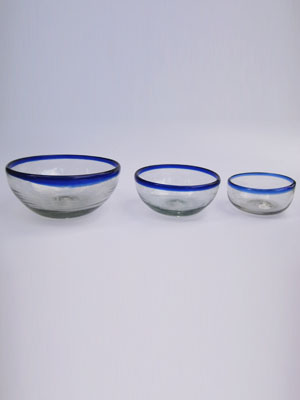 MEXICAN GLASSWARE / 'Cobalt Blue Rim' snack bowl set (3 pieces) / Large, medium & small cobalt blue rim snack bowls. Great for serving peanuts, chips or pretzels in stylish fashion.