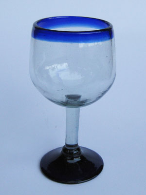 COLORED GLASSWARE / 'Cobalt Blue Rim' balloon wine glasses (set of 6)