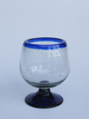MEXICAN GLASSWARE / 'Cobalt Blue Rim' cognac glasses (set of 6) / Enjoy cognac or any other liquor straight with these stemless balloon glasses. They come adorned with a classy cobalt blue rim.