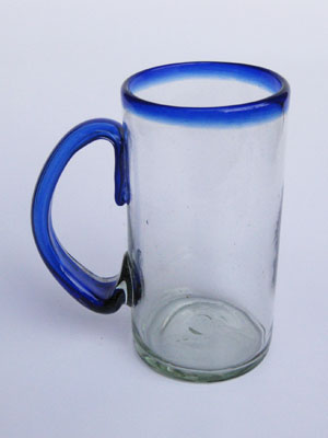 MEXICAN GLASSWARE / 'Cobalt Blue Rim' large beer mugs (set of 6) / What better way to enjoy freezing cold beer than with these large blue rim mugs? Thick blown glass helps keep low temperature and full flavor, just the way you like it!