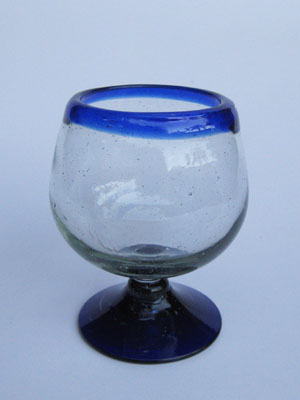 MEXICAN GLASSWARE / 'Cobalt Blue Rim' large cognac glasses (set of 6) / A modern touch for one of the finest drinks, these balloon glasses are the contemporary version of a classic cognac snifter.