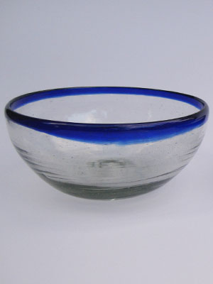 MEXICAN GLASSWARE / 'Cobalt Blue Rim' large snack bowl set (3 pieces) / Large cobalt blue rim snack bowls. Great for serving peanuts, chips or pretzels in stylish fashion.