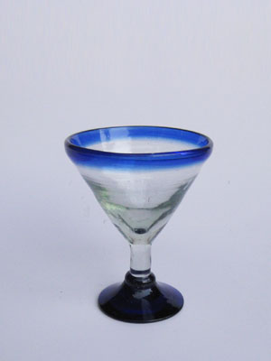 COLORED GLASSWARE / 'Cobalt Blue Rim' small martini glasses (set of 6)