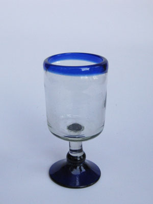 COLORED GLASSWARE / 'Cobalt Blue Rim' small wine goblets (set of 6)