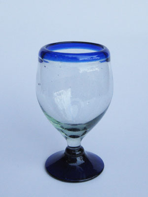 COLORED GLASSWARE / 'Cobalt Blue Rim' stemless wine glasses (set of 6)