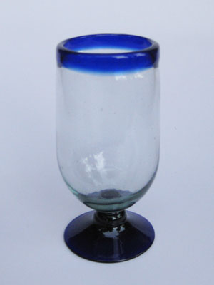 MEXICAN GLASSWARE / 'Cobalt Blue Rim' tall water goblets (set of 6) / These tall water goblets will embellish your table setting and give it a festive feel. Made from authentic hand blown recycled glass.