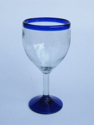 MEXICAN GLASSWARE / 'Cobalt Blue Rim' wine glasses (set of 6) / Capture the bouquet of fine red wine with these wine glasses bordered with a bright, cobalt blue rim.