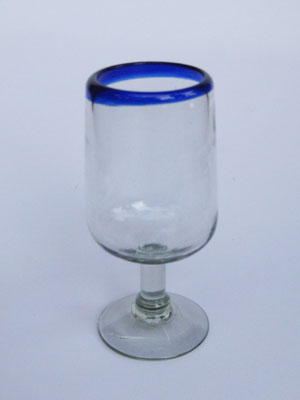 MEXICAN GLASSWARE / 'Cobalt Blue Rim' wine goblets (set of 6)