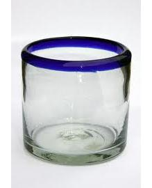 COLORED GLASSWARE / 'Cobalt Blue Rim' DOF - rock glasses (set of 6)