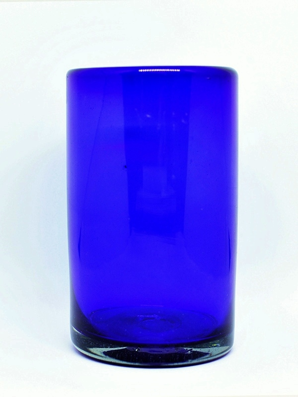 MEXICAN GLASSWARE / Solid Cobalt Blue drinking glasses (set of 6) / These handcrafted glasses deliver a classic touch to your favorite drink.