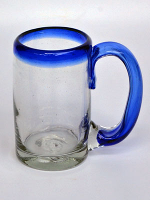 New Items / 'Cobalt Blue Rim' beer mugs (set of 6) / Imagine drinking a cold beer in one of these mugs right out of the freezer, the cobalt blue handle and rim makes them a standout in any home bar.