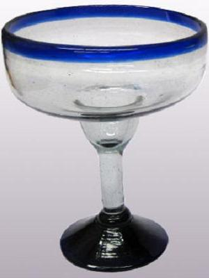 MEXICAN GLASSWARE / 'Cobalt Blue Rim' large margarita glasses (set of 6) / For the margarita lover, these enjoyable large sized margarita glasses feature a cheerful cobalt blue rim.