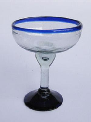 MEXICAN GLASSWARE / 'Cobalt Blue Rim' margarita glasses (set of 6) / An essential set for any margarita lover, the hand-blown glasses feature a cheerful cobalt blue rim.