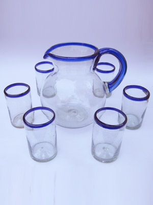 MEXICAN GLASSWARE / 'Cobalt Blue Rim' pitcher and 6 drinking glasses set / Bordered in beautiful cobalt blue, this classic pitcher and glasses set will bring a colorful touch to your table.