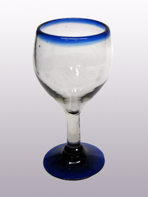 MEXICAN GLASSWARE / 'Cobalt Blue Rim' small wine glasses (set of 6) / Small wine glasses with a beautiful cobalt blue rim. Can be used for serving white wine or as an all-purpose wine glass.