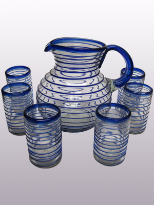 COLORED RIM GLASSWARE / 'Cobalt Blue Spiral' pitcher and 6 drinking glasses set