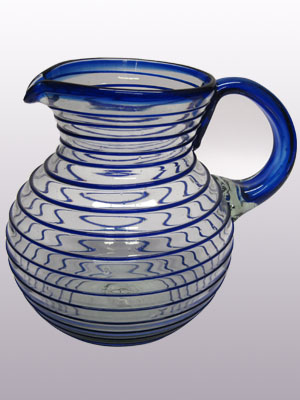 COLORED RIM GLASSWARE / 'Cobalt Blue Spiral' blown glass pitcher