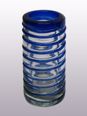 MEXICAN GLASSWARE / 'Cobalt Blue Spiral' Tequila shot glasses (set of 6) / Cobalt blue threads spinned to embrace these gorgeous shot glasses, perfect for parties or enjoying your favorite liquor.