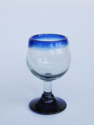 Colored Rim Glassware / 'Cobalt Blue Rim' stemmed tequila sippers (set of 6) / Stemmed tequila sippers with a cobalt blue rim. Great for sipping tequila or serving chasers.
