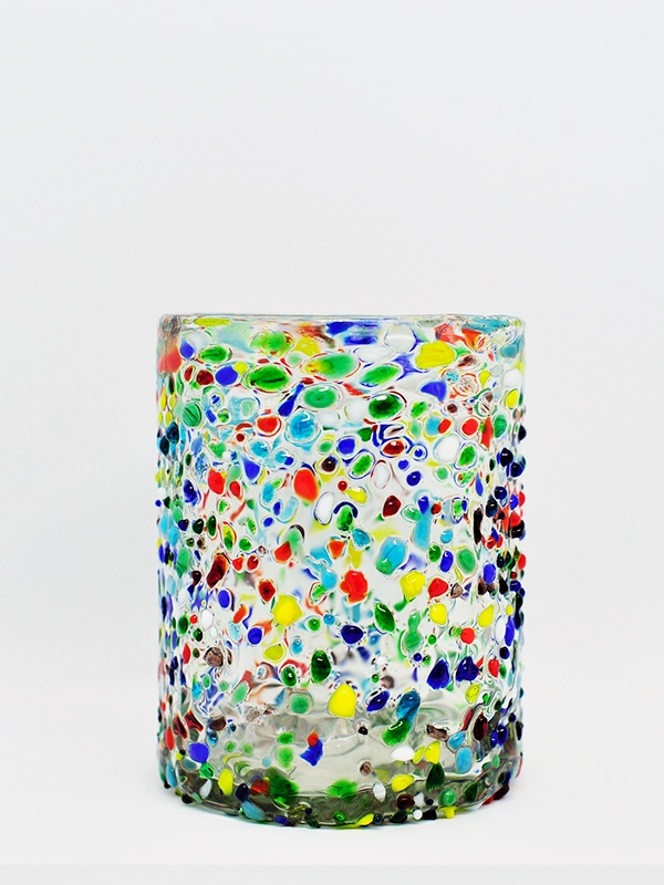 COLORED RIM GLASSWARE / Confetti rocks tumbler (set of 6)