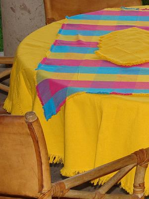 MEXICAN TEXTILES / Cotton Tablecloth with napkins Round and Square Combination 2