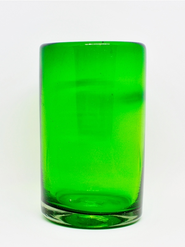 COLORED RIM GLASSWARE / Solid Emerald green drinking glasses (set of 6)