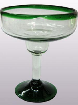 COLORED RIM GLASSWARE / 'Emerald Green Rim' large margarita glasses (set of 6)