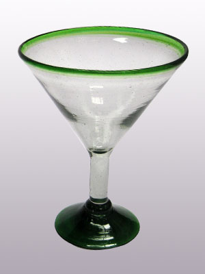 MEXICAN GLASSWARE / 'Emerald Green Rim' martini glasses (set of 6) / This wonderful set of martini glasses will bring a classic, mexican touch to your parties.