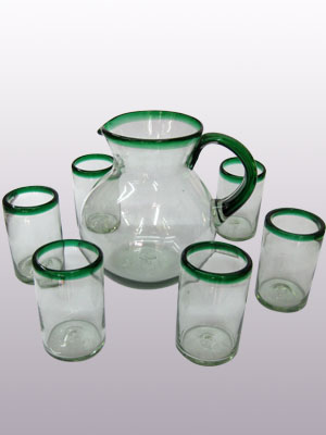 MEXICAN GLASSWARE / 'Emerald Green Rim' pitcher and 6 drinking glasses set / Bordered in beautiful emerald green, this classic pitcher and glasses set will bring a colorful touch to your table.