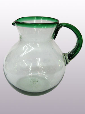 MEXICAN GLASSES / 'Emerald Green Rim' blown glass pitcher