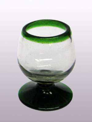 MEXICAN GLASSWARE / Emerald Green Rim small cognac glasses (set of 6) / This classy set of cognac glasses will compliment your blown glass collection and help you enjoy your favourite liquor.