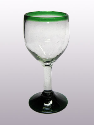 MEXICAN GLASSWARE / 'Emerald Green Rim' small wine glasses (set of 6)