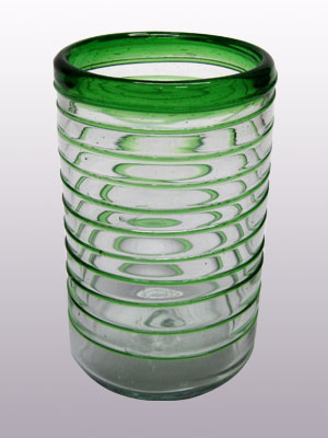 MEXICAN GLASSWARE / 'Emerald Green Spiral' drinking glasses (set of 6) / These elegant glasses covered in a emerald green spiral will add a handcrafted touch to your kitchen decor.