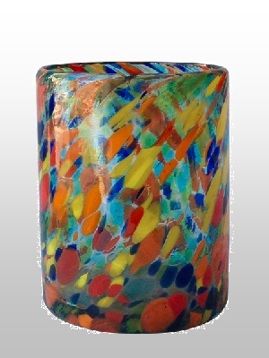 MEXICAN GLASSWARE / Blue-Confetti-blown-glass-tumbler
